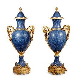 Pair of Monumental Louis XV Gilt Bronze Lapis Lazuli