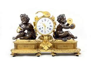 19th c. Large French Bronze Mantel Clock