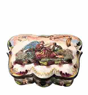 Antique Large Ginori CapoDiMonte Porcelain Box