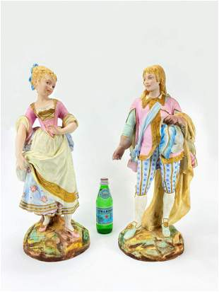Pair of Paul Duboy Painted Bisque Porcelain Figurines