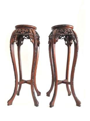 Pair of Carved Chinese Marble Top Pedestals / Stands