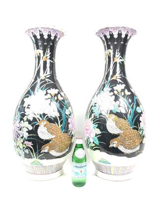 Pair of Green Chinese Hand Painted Porcelain Vases