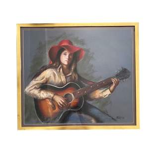 Signed Portrait of A Woman Playing Guitar