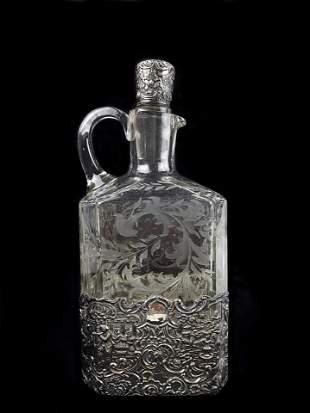 Antique Sterling Silver Crystal Bottle
