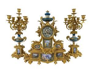 Louis XVI Sevres Porcelain Mounted Clock Garniture