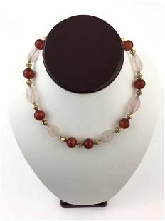 1960's Chinese Rose Quartz & Carnelian Necklace