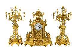 19th Century Large French Gilt Bronze Clock Set