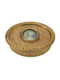 Antique Bronze Box with Hand Painted Plaque