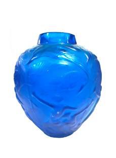 Art Deco Electric Blue Archers Vase Signed R. Lalique