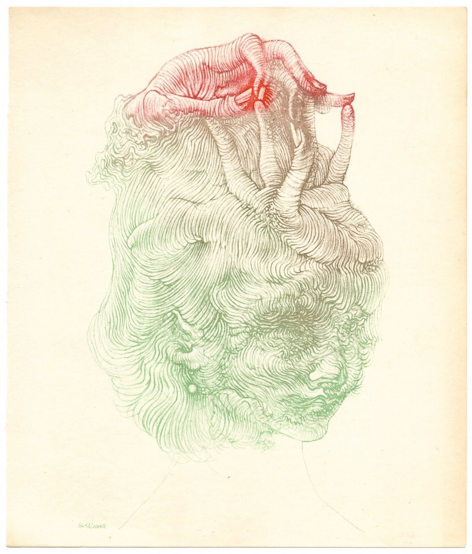 "Hans Bellmer original color etching ""The Hand Hat"""