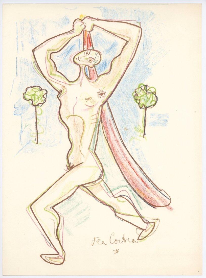 Jean Cocteau original lithograph for Montagnes Marines