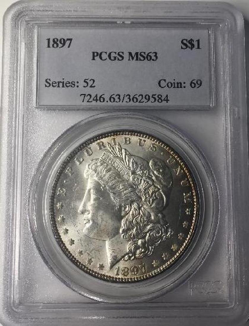 1897 PCGS MS63 $1 Morgan Silver Dollar Series 52