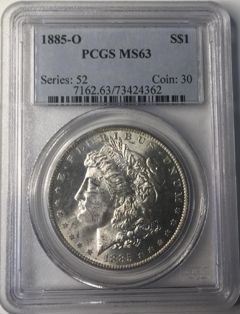 1885-O PCGS MS63 $1 Morgan Silver Dollar