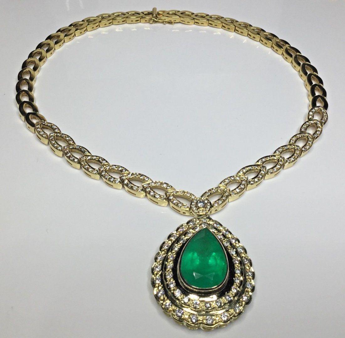 18K Colombian Emerald GIA 22.39 TCW Diamond Necklace