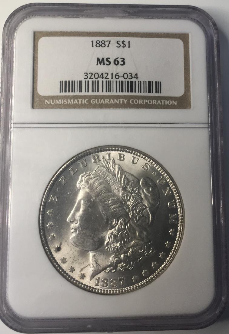 1887 NGC MS63 $1 Morgan Silver Dollar
