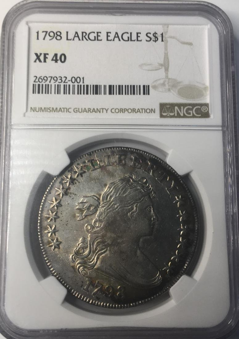 1798 NGC Draped Bust Flowing Hair Large Eagle $1 XF40