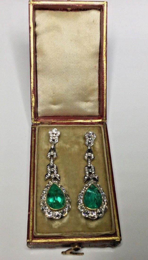 Antique Art Deco 10.82 CTW Diamond & Emerald Earrings