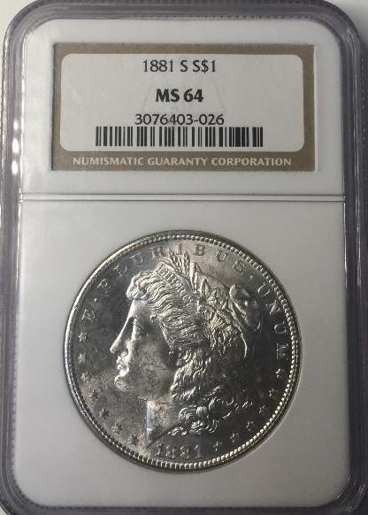 1881 S NGC MS64 $1 Morgan Silver Dollar