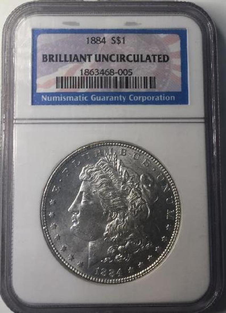 1884 NGC Brilliant Uncirculated $1 Morgan Silver Dollar