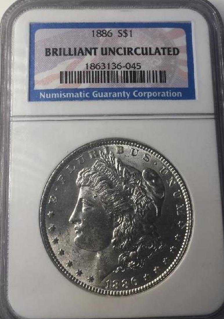 1886 NGC Brilliant Uncirculated $1 Morgan Silver Dollar