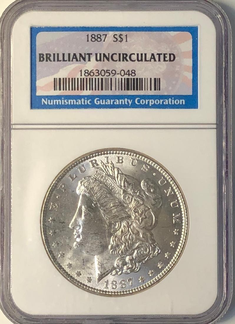 1887 NGC Brilliant Uncirculated $1 Morgan Silver Dollar