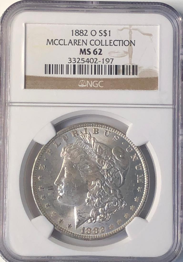 1882-O NGC McClaren Collection MS62 $1 Morgan Silver