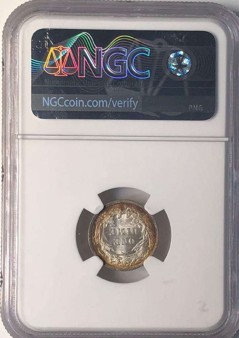 1890 NGC MS64 Seated Liberty Dime (Gorgeous Toning) - 2