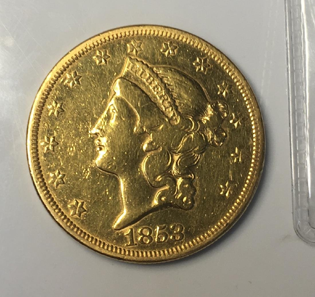 1853 $20 Dollar Liberty Gold Coin