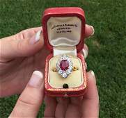 Art Deco French 18K Plat 348 CTW Ruby  Diamond Ring