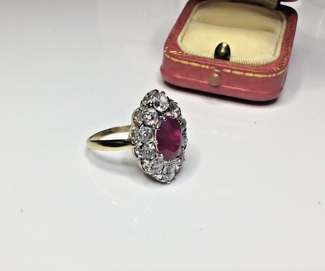 Art Deco French 18K Plat 3.48 CTW Ruby & Diamond Ring - 3