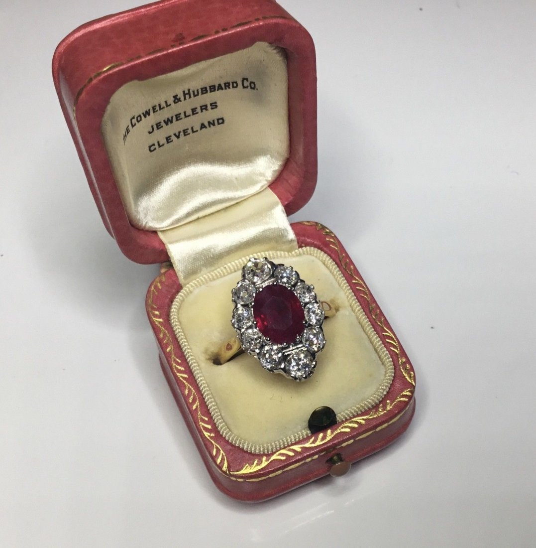 Art Deco French 18K Plat 3.48 CTW Ruby & Diamond Ring - 5