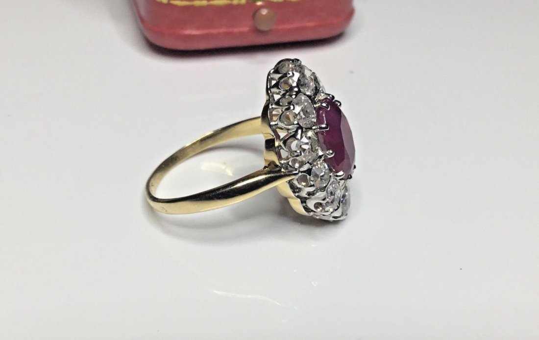 Art Deco French 18K Plat 3.48 CTW Ruby & Diamond Ring - 8