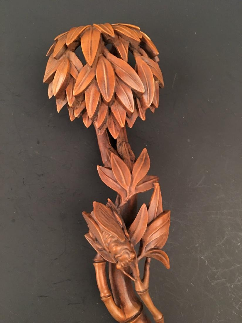 Chinese Box Wood Ruyi Carving - 2
