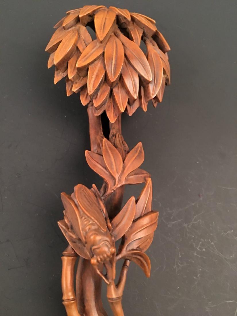 Chinese Box Wood Ruyi Carving - 6