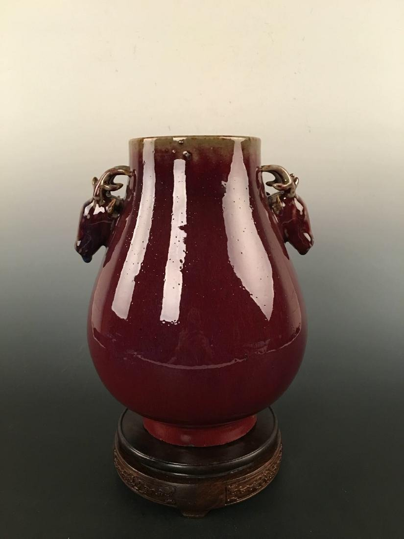 Chinese Red Glazed Vase With Deer Heads Decoration - 7