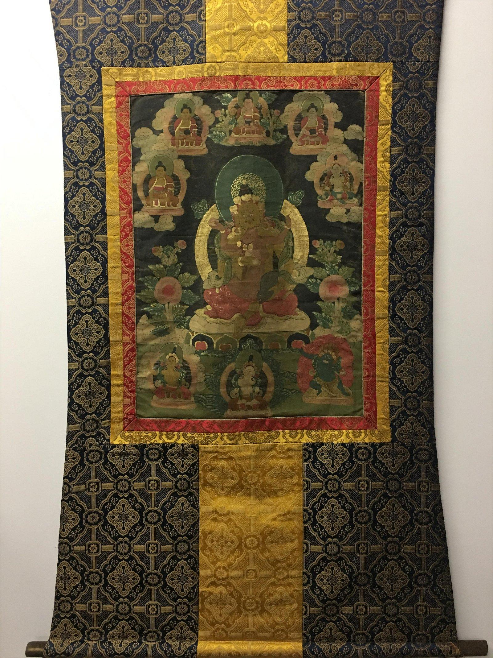 Chinese Hanging Scroll Thangka of NandikeÅ›vara