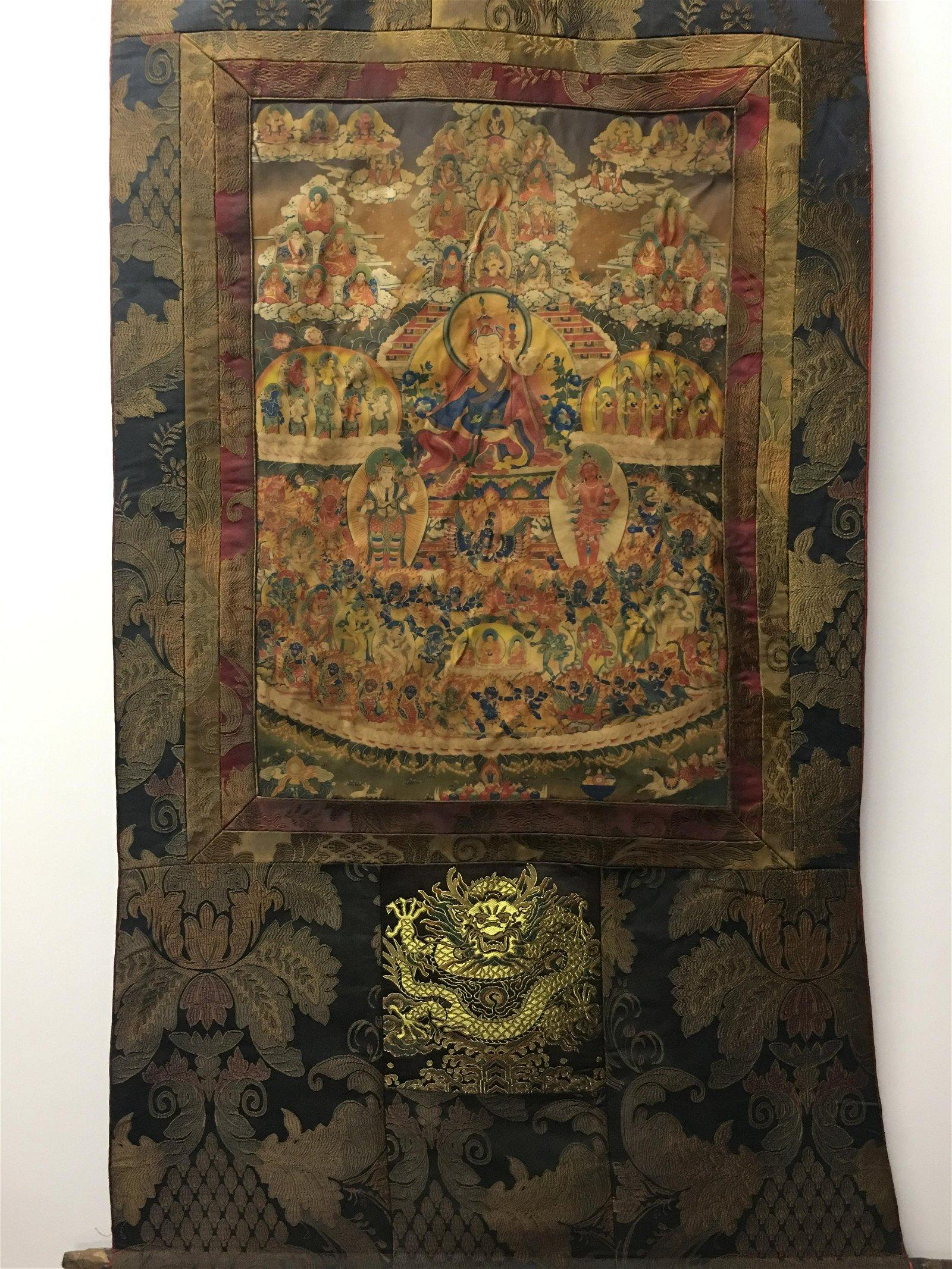 Chinese Hanging Scroll Thangka of Padmasambhava