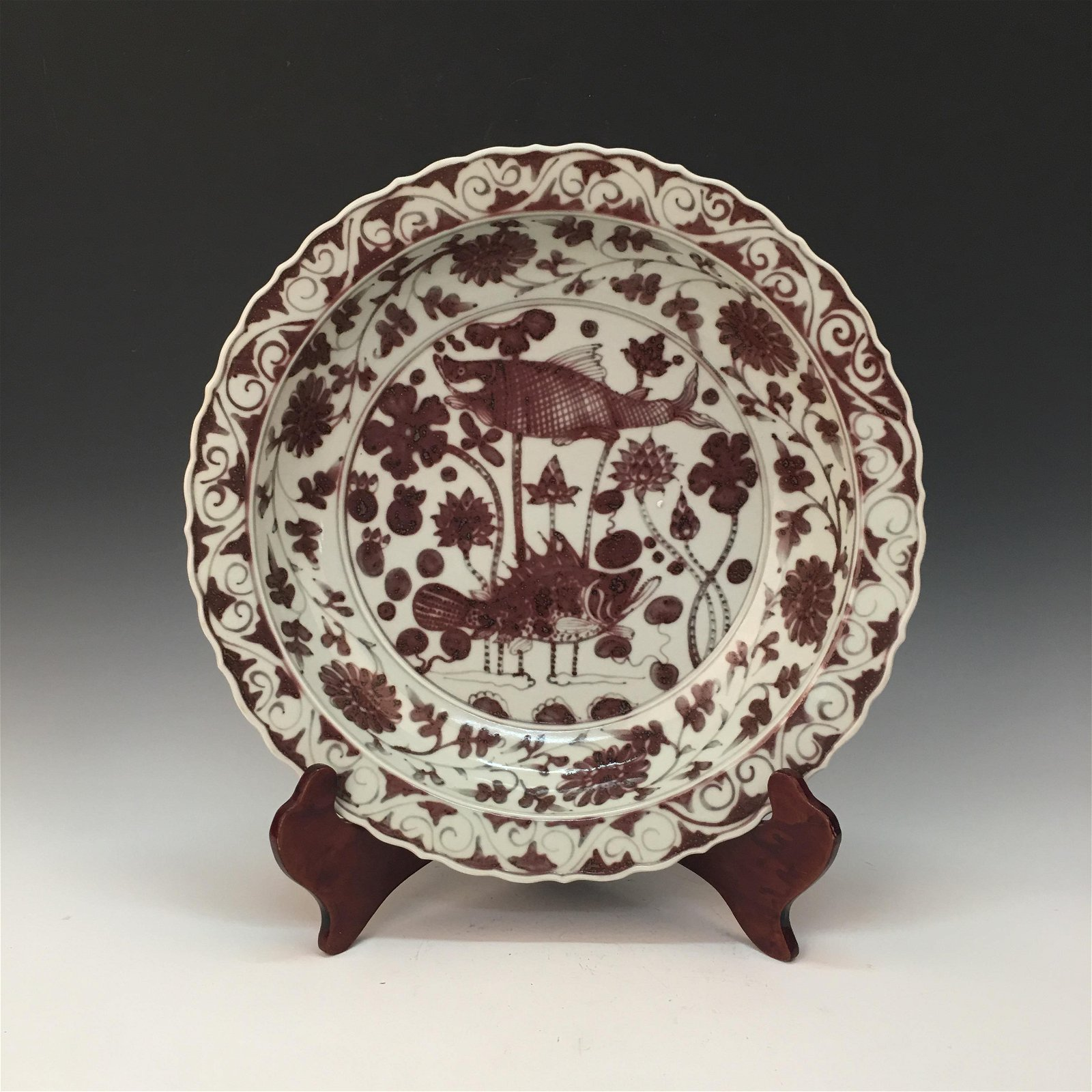 Chinese Copper Red 'Fish' Plate