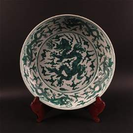 Chinese Green Glazed Charger