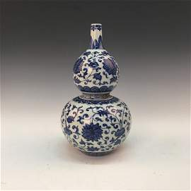 Chinese Blue-White 'Floral' Double Goured Bottle Vase,