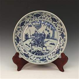 Chinese Blue-White 'Living Scene' Charger