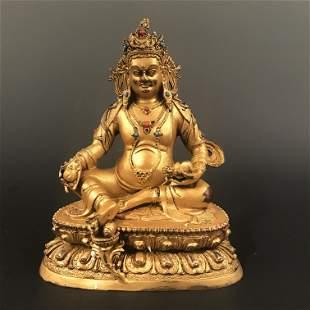 Chinese Gilt Bronze Buddha Figure Inlaid Gemstones