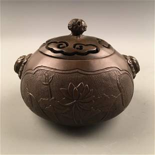 Chinese Bronze 'Lotus' Censor, Double Lion Handle