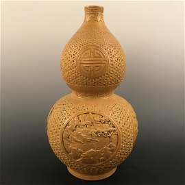 Chinese Yellow Glazed Double-Goured Vase Openwork,