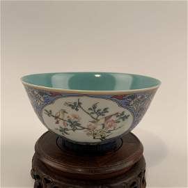Chinese Famille Rose Bowl with a Yongzheng Mark