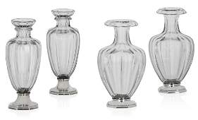 Two pairs of French silver-mounted glass vases Marks