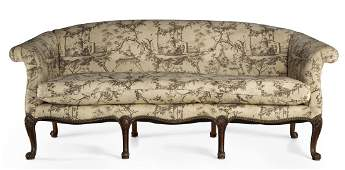 A George III style carved mahogany settee 20th century