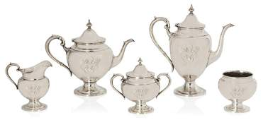 An American sterling silver five piece tea and coffee