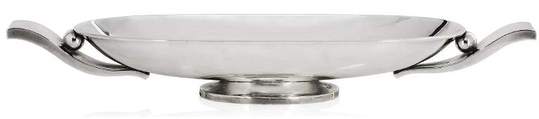 A Mexican sterling silver Modernist oval footed