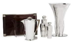 A collection of five Art Deco silverplate tablewares By